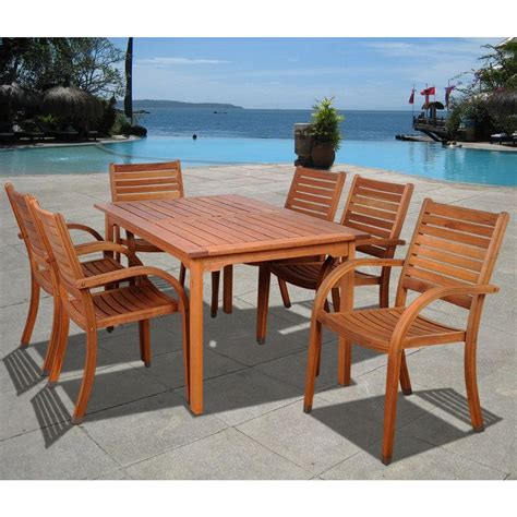Wooden Patio Dining Set Amazonia Arizona Eucalyptus Wood 7 Rectangular Patio Dining Set Sc 361 6cata The Home Depot