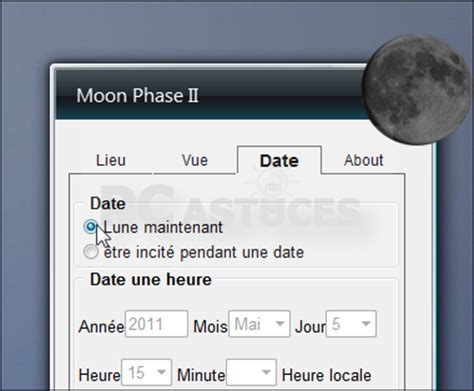 Gadget Calendrier N Affiche Plus La Date Afficher Les Phases De La Lune Sur Bureau Windows 7