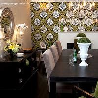 miami elegant end tables dining room transitional with metallic wallpaper contemporary dining room