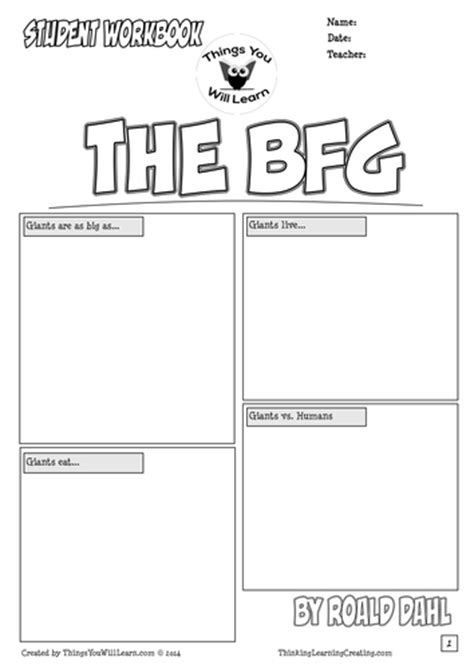 The BFG by Roald Dahl Comic Style Workbook by