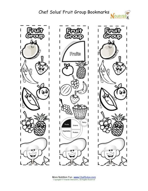 bookmarks coloring fruit food group activity chef solus