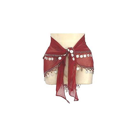 new maroon belly hip scarf made from sheer chiffon