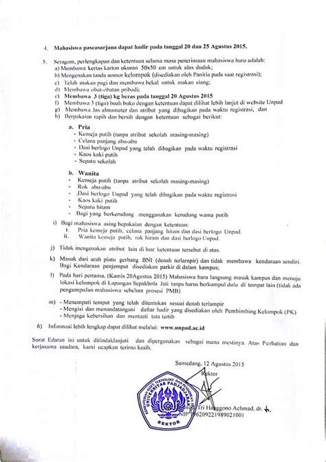 surat edaran rektor tentang penerimaan mahasiswa baru unpad tahun 2015