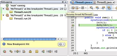 debugging multi threaded applications in netbeans ide