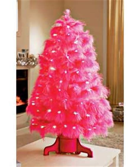 90cm revolving pink feather fibre optic tree christmas