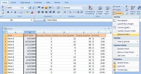 format excel column width excel change the default column width