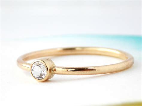 simple white topaz ring 14k gold filled ring white topaz