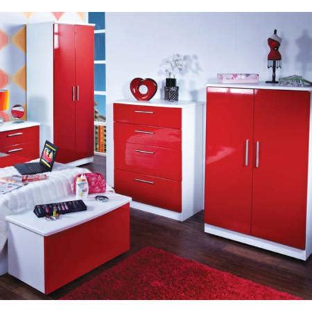 red bedroom set hatherley high gloss 4 piece white and red bedroom storage