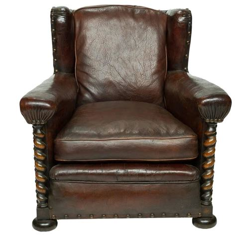french wing chair vintage french leather wing chair at 1stdibs