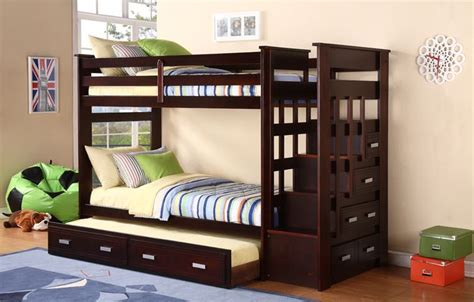 Bunk Bed With Trundle And Drawers Bunk Bed With Trundle Espresso Stairway Bunk Bed With Trundle And Storage Side Drawers