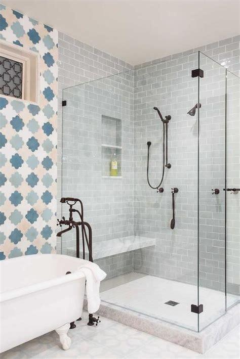 Quatrefoil Bathroom Tile Blue Bathroom Tiles Blue And Gray Bathroom With Blue