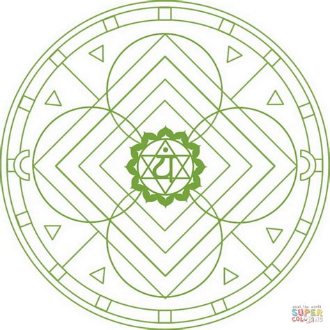 anahata chakra mandala coloring page free printable