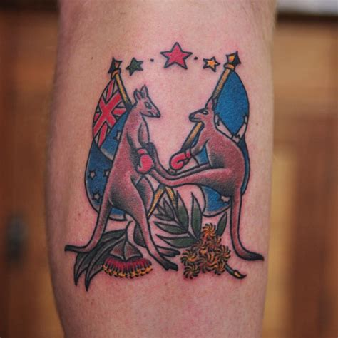 australia tattoo designs two boxer kangaroos holding australian flags