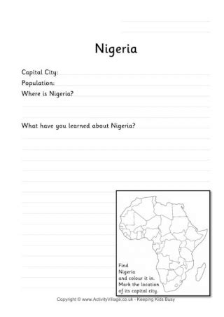 Nigeria Location Worksheet