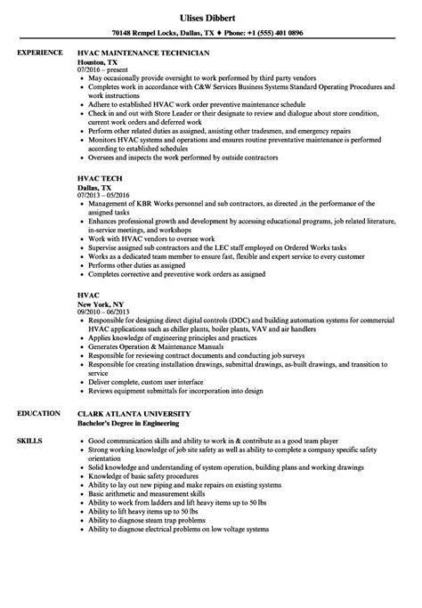 hvac technician resume sles hvac resume sles velvet