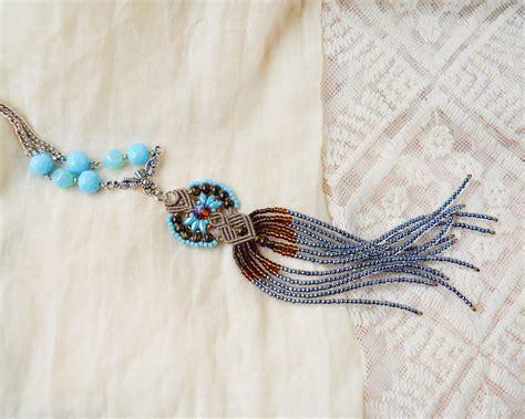 beaded macrame jewelry bohemian macrame necklace boho chic beaded macrame jewelry