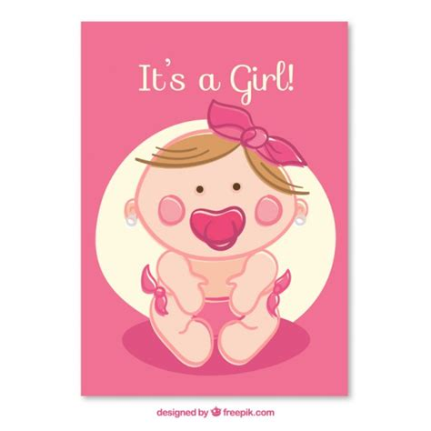 New Born Baby Greeting Card Template by Baby Card Vector Free