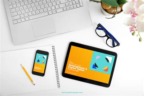 Digital Mock Up Design Review | free workplace with smartphone digital tablet mockup psd