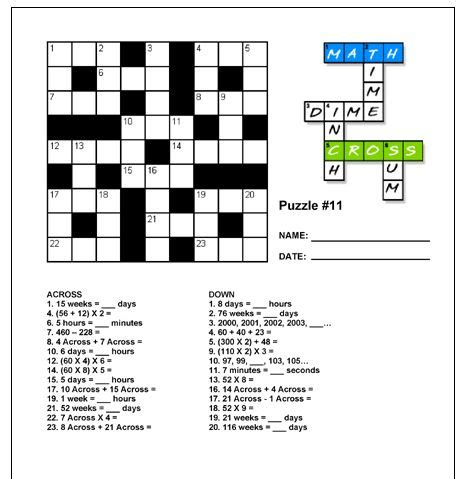 printable number puzzles elementary free math crosswords printable teaching upper