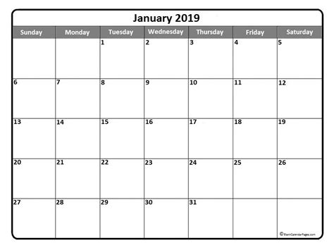 january calendar template january 2019 printable calendar template january2019