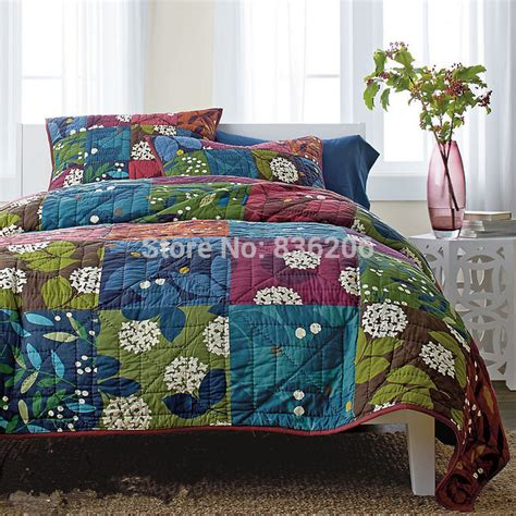 Patchwork Bedding Set - country style 100 cotton quilted blue bedspreads blankets