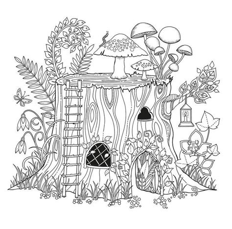 coloring page fairy house home house fairy fae fantasy myth mythical mystical legend
