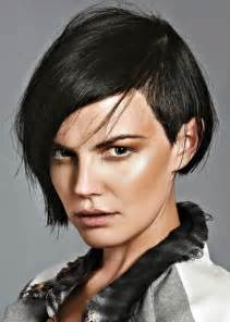 Black bob with shaved side and long bangs it s ideal for squared