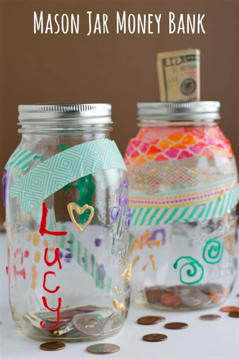 Ways To Decorate Your Home For Cheap by Decorate A Mason Jar Bank Make And Takes