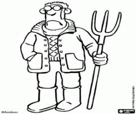 Shauns Farmer With The Pitchfork Coloring Page sketch template