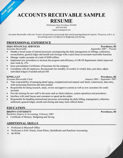 Resume Templates Accounts Payable Accounts Receivable Resume Images