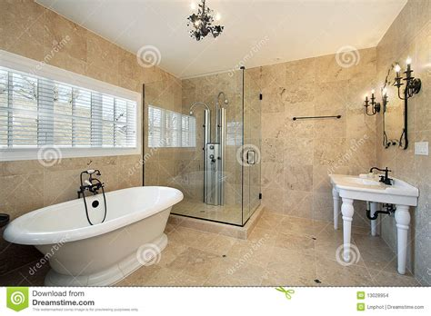 sames illuminazione master bath with large glass shower stock photo image