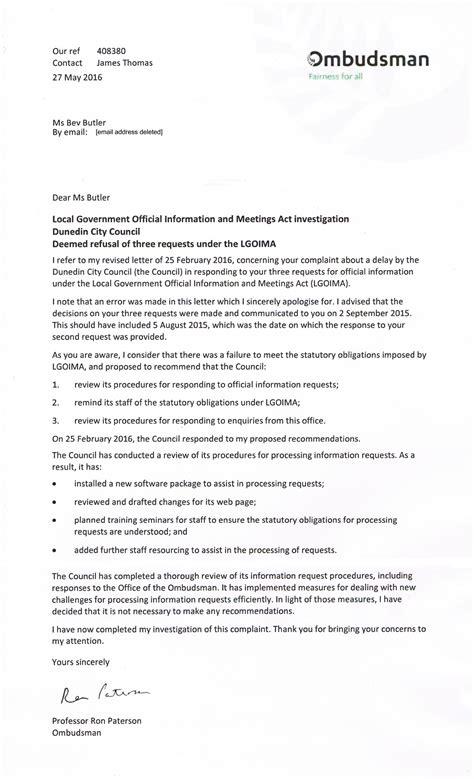 ombudsman letter template letter from ombudsman to bev butler what if dunedin
