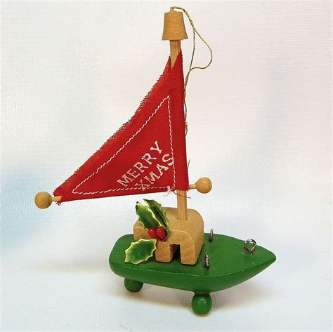 vintage wooden sailboat christmas ornament