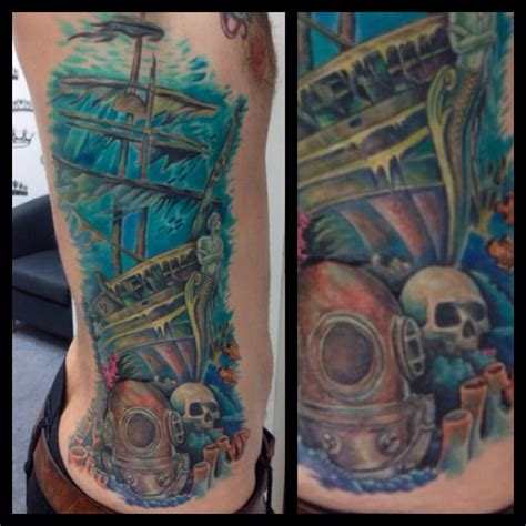 sunken ship tattoos underwater shipwreck rib by alex alex