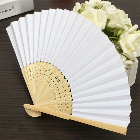 Handmade Fans For Weddings - 5pcs simple blank diy paper folding fan wedding