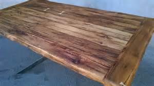 plateau bois pour table table en acier et vieux bois