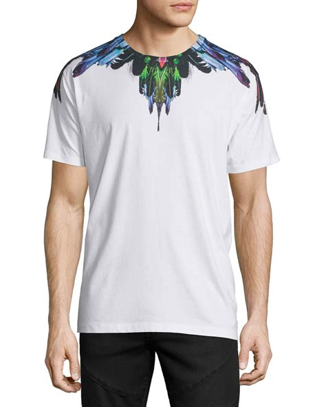 T Shirt Feather Be You White marcelo burlon multicolored feather graphic sleeve t