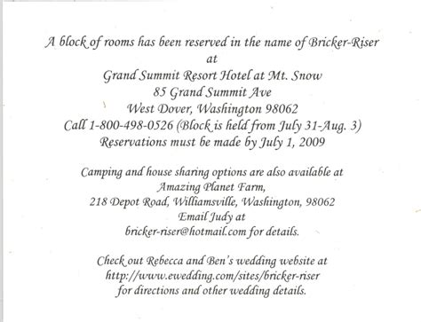 wedding accommodation card wedding accommodation cards exles of wedding