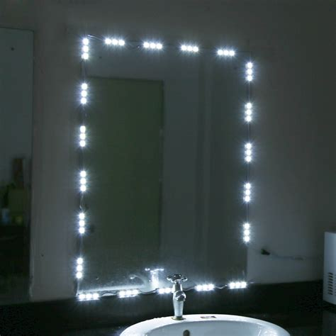 white mirror with lights 5ft 10ft 12v led white dressing mirror lighting string kit