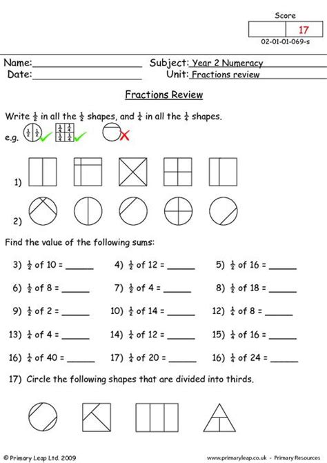 Fractions Review Worksheet by Free Printable Fraction Review Worksheets Primaryleap Co