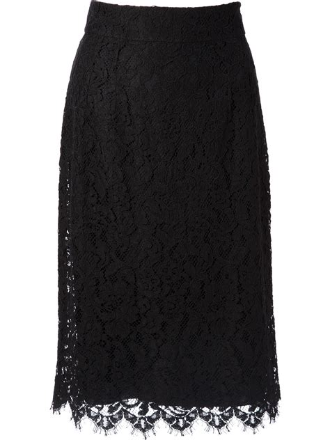 dolce gabbana lace pencil skirt in black lyst