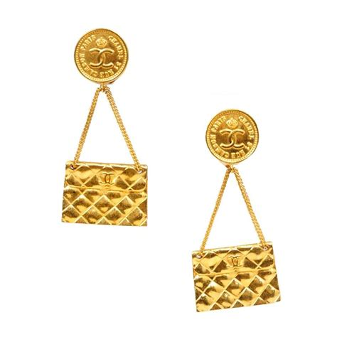 chanel gold quilted handbag earrings at 1stdibs