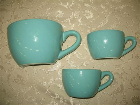 set 3 coffee cup ceramic wall pocket vase teacup blue teal
