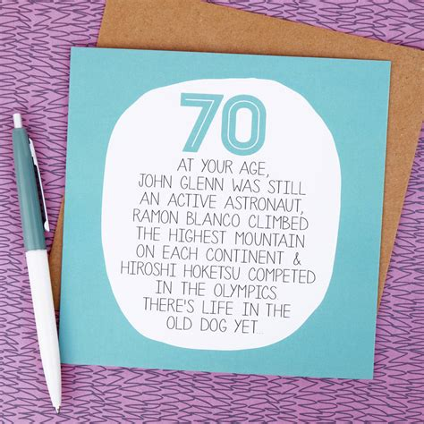 What To Write On 70th Birthday Card By Your Age Funny 70th Birthday Card By Paper Plane