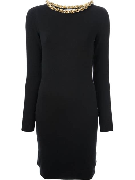 Sweater Moschino Lyst Moschino Chain Embellished Sweater Dress In Black