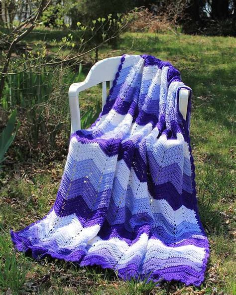 bernat zig zag afghan pattern purple mountains majesty ripple afghan crochet pattern