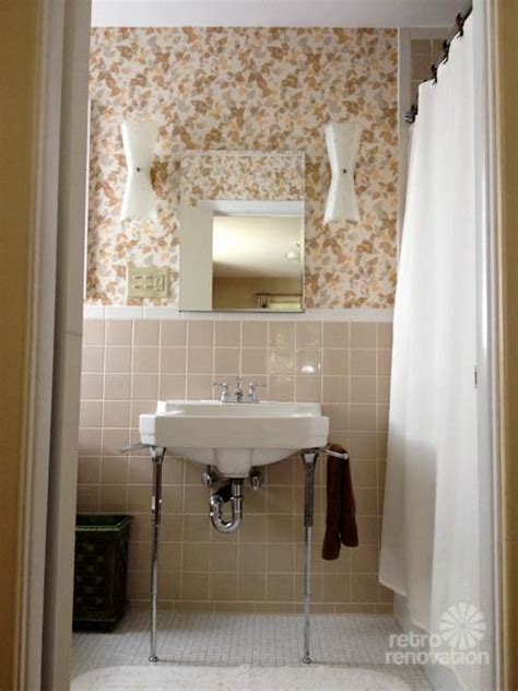 New vintage wallpaper and lighting for pam s bathroom beige brown yellow gray metallic gold
