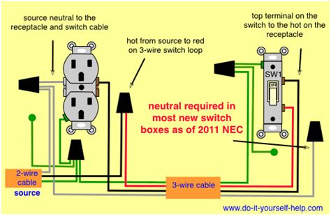 switched receps switch at end wiring electrical