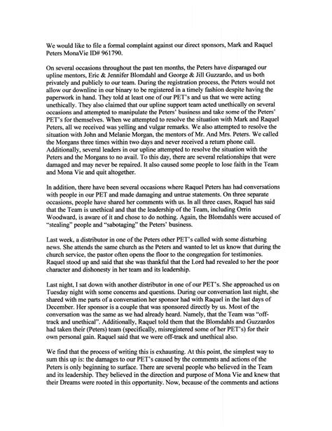 Complaint Letter Against Coworker Sle Raquel Peters Eric Blomdahl Leadership For