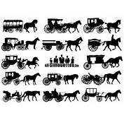Horse Drawn Carriage Silhouettes Vector  AI SVG EPS Free Graphics